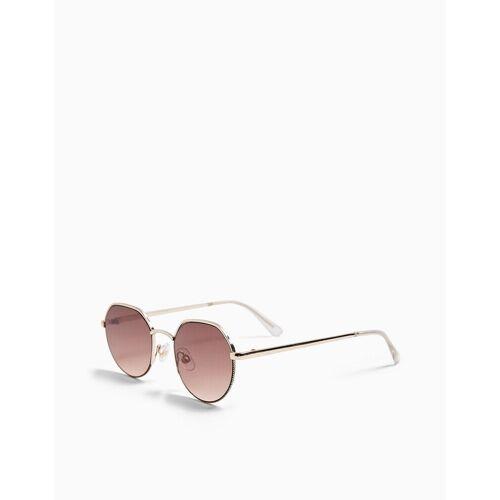 Topshop – Runde Sonnenbrille in Gold-Goldfarben One Size