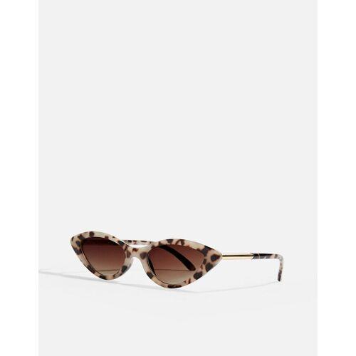Topshop – Schmale Sonnenbrille in Braun One Size
