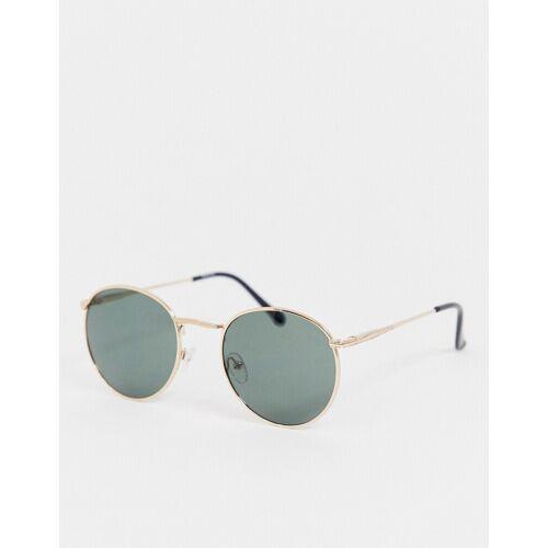 ASOS DESIGN – Runde Sonnenbrille in Gold mit Nasensteg no size