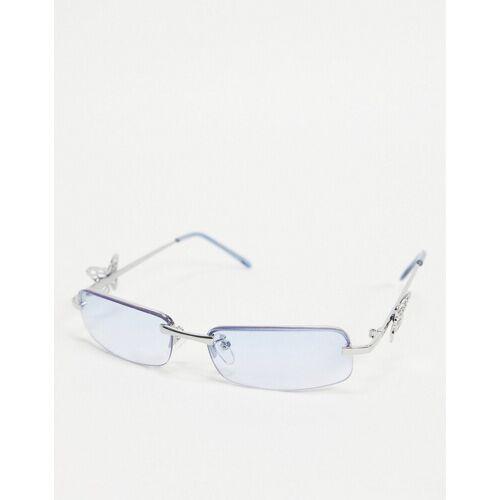 Bershka – Rahmenlose Sonnenbrille im Stil der 90er in Blau One Size
