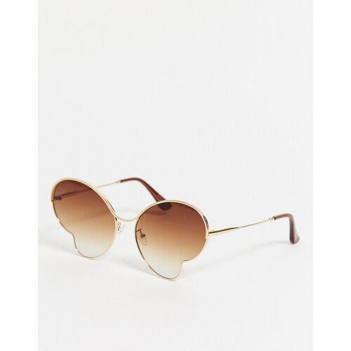 Jeepers Peepers – Schmetterlingsförmige Sonnenbrille in Gold Einheitsgrobe
