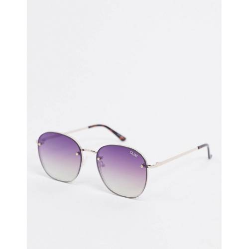 Quay Australia – Jezabell – Rahmenlose runde Sonnenbrille in Gold No Size