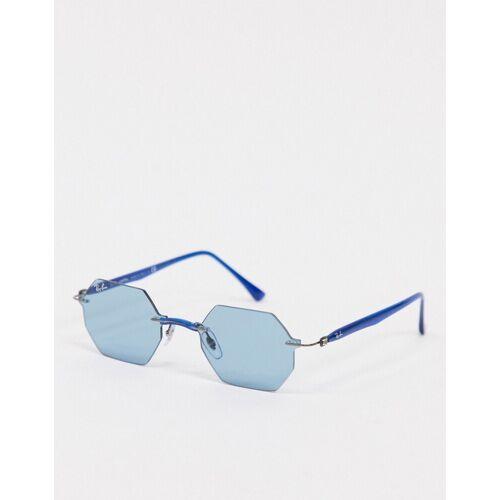 Ray-Ban – Sechseckige Sonnenbrille in Blau ohne Rahmen No Size