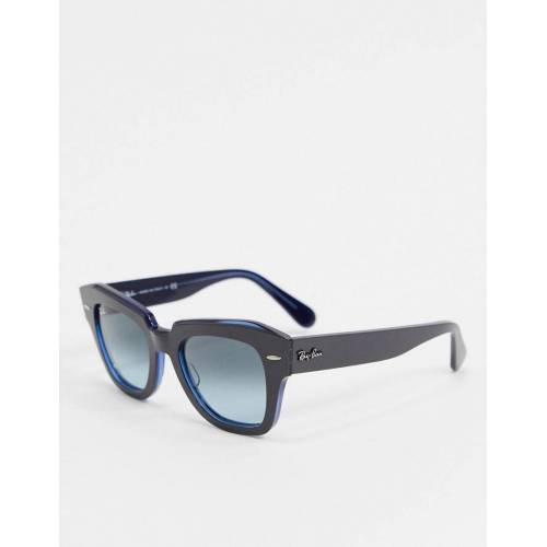 Ray-Ban Rayban – Eckige Retro-Sonnenbrille in Blau No Size