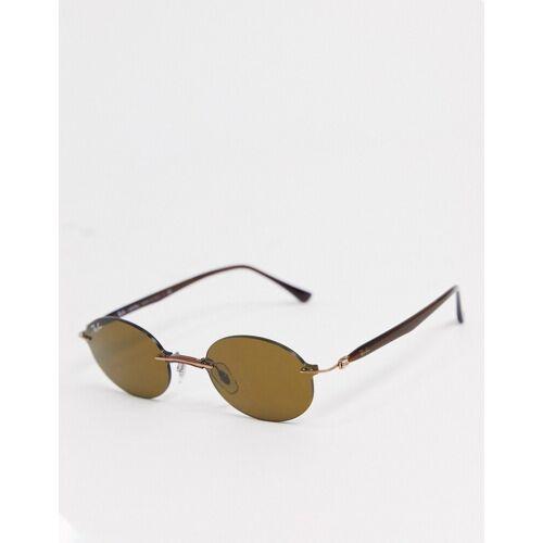 Ray-Ban Rayban– Ovale Sonnenbrille in Braun ohne Rahmen No Size