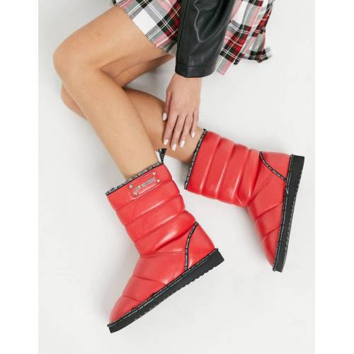 Love Moschino – Gesteppte Stiefel in Rot 38