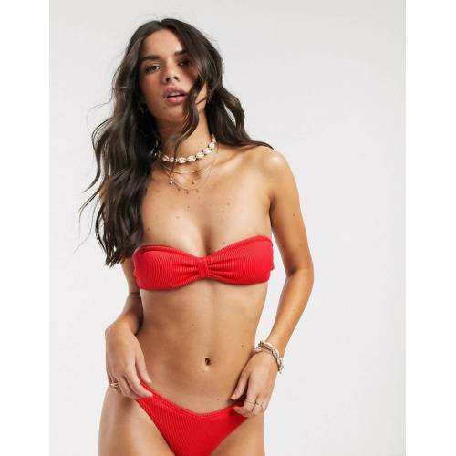Accessorize – Gerippte Bikinihose in Rot 40