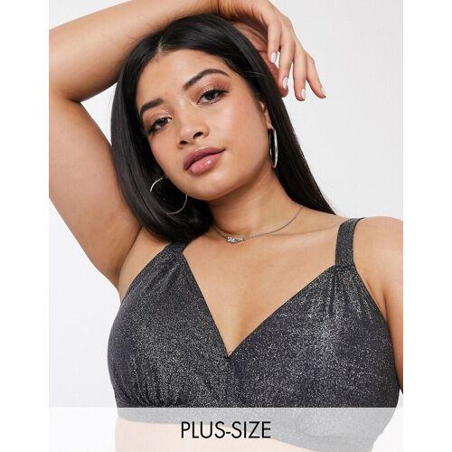 Junarose – Bikinioberteil mit Clipverschluss hinten, Silber-Metallic 44
