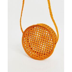 KAANAS – Runde Umhängetasche aus gewebtem Bast in Orange No Size