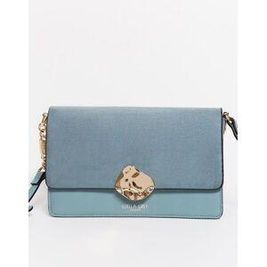 Luella Grey – Blaue Umhängetasche mit kontrastierendem Umschlag in Wildlederoptik und Schnalle in Gold No Size