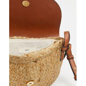 Mango – Stroh-Umhängetasche mit Kunstledereinsatz in Hellbraun-Bronze Einheitsgröße