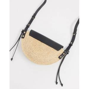 Mango – Umhängetasche aus Bast mit Oberteil aus Kunstleder, in Schwarz Einheitsgröße