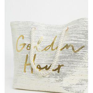 South Beach – Golden Hour – Exklusive Strandtasche in Gold glitzernd-Cremeweiß No Size