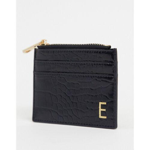 ASOS DESIGN – Geldbörse und Kartenetui in Kroko-Schwarz mit personalisierter 'E'-Prägung no size