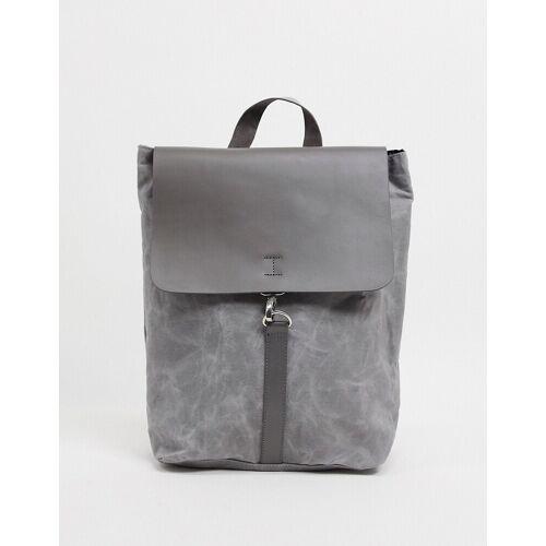 ASOS DESIGN – Rucksack aus Leder und Leinen in Grau No Size
