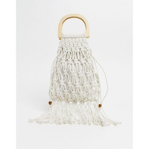 SVNX – Gehäkelte Tasche mit Fransen und Griff aus Holz-Weiß No Size