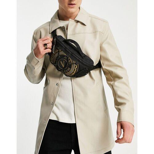 Versace Jeans Couture – Schwarze Gürteltasche mit Logo No Size