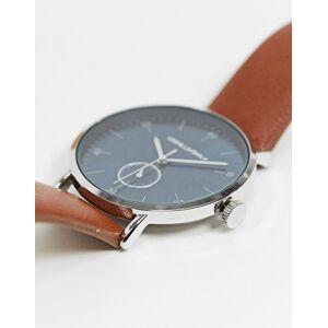 ASOS DESIGN – Armbanduhr mit braunem Kunstlederband und blauem Zifferblatt No Size