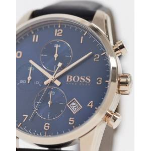 BOSS – Armbanduhr aus schwarzem Leder mit blauem Zifferblat, 1513783 No Size