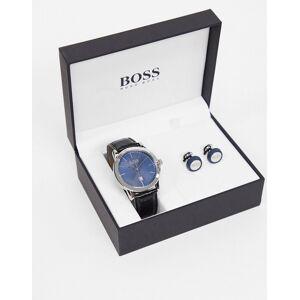 Boss – Geschenkset mit Lederarmbanduhr und Manschettenknöpfen-Navy No Size