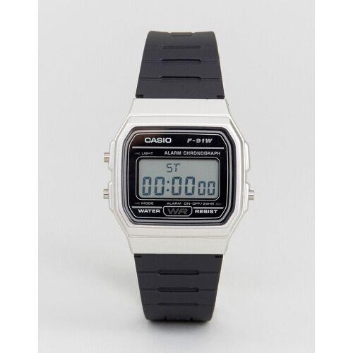 Casio – F91WM-7A – Digitale Silikon-Armbanduhr in Schwarz/Silber No Size