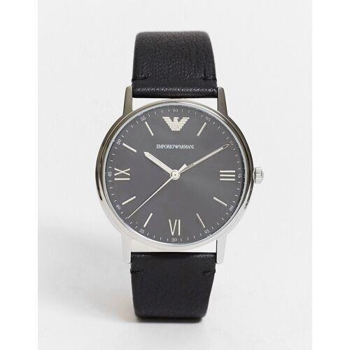 Emporio Armani – Schwarze Uhr mit Lederarmband No Size