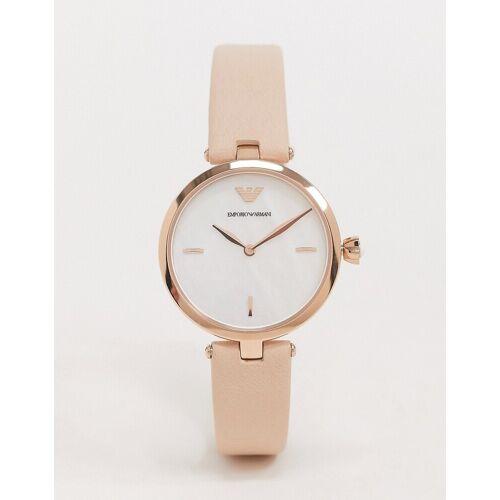 Emporio Armani – Uhr mit Lederarmband in Rosa, AR11199 No Size