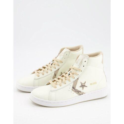 Converse – Pro – Sneaker aus Leder in gebrochenem Weiß mit beigen Schnürsenkeln-Neutral 39