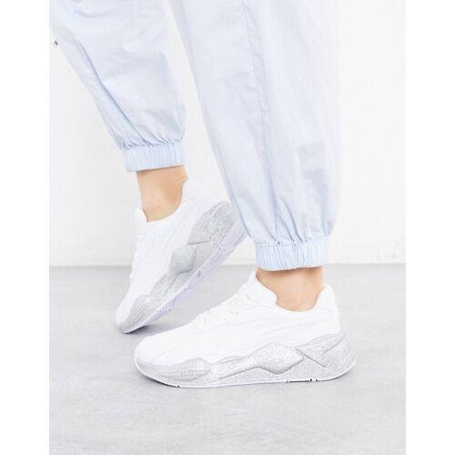 Puma – RS-X3 – Glitzernde, weiße Sneaker 42