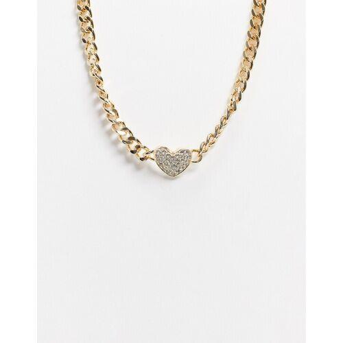 ASOS DESIGN – Halskette in Goldoptik mit Kristallherz und Panzergliedern-Goldfarben No Size