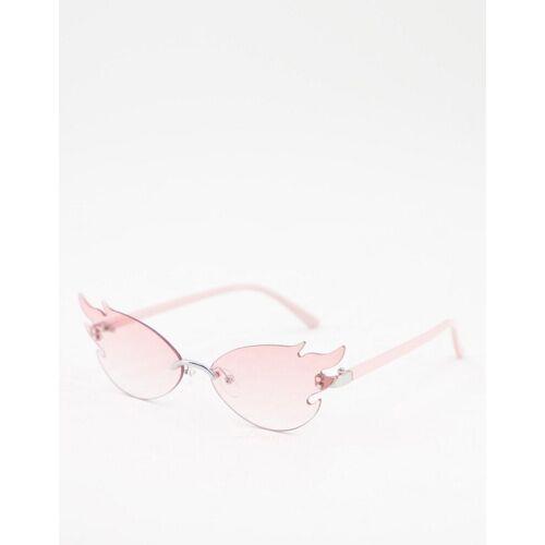 ASOS DESIGN – Randlose Brille in Rosa mit Flammendesign One Size
