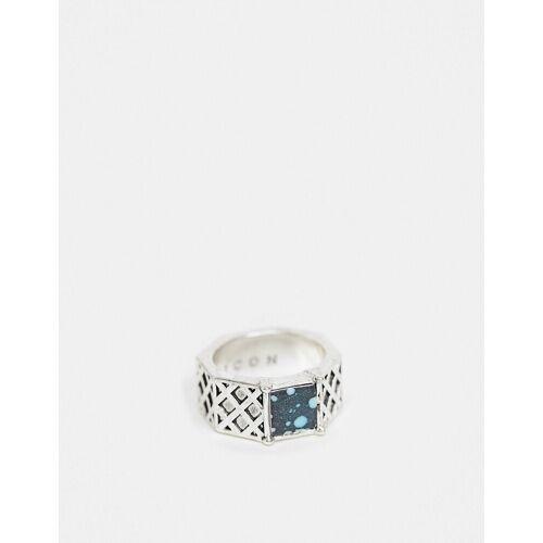 Icon Brand – Sechseckiger Ring in Silberoptik 19MM