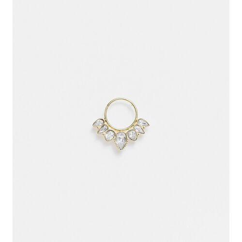 Reclaimed Vintage – Inspired – Einzelner Ohr- oder Nasenring mit Kristalldesign-Goldfarben One Size