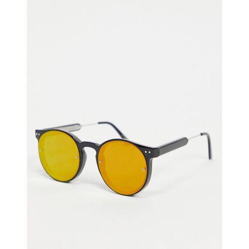 Spitfire – Post Punk – Runde Unisex-Sonnenbrille in Schwarz mit rot verspiegelten Gläsern No Size