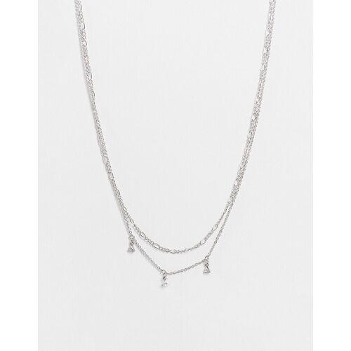 Topshop – Zarte, mehrreihige silberfarbene Halskette mit drei Kristallsteinen No Size