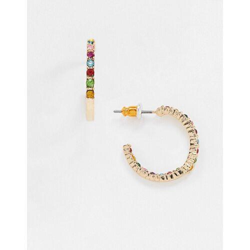 ASOS DESIGN – Creolen in Gold mit Kristallen in Regenbogenfarben No Size