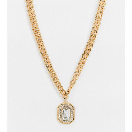 ASOS Curve ASOS DESIGN Curve – Goldfarbene Halskette mit edlem Kristallanhänger No Size