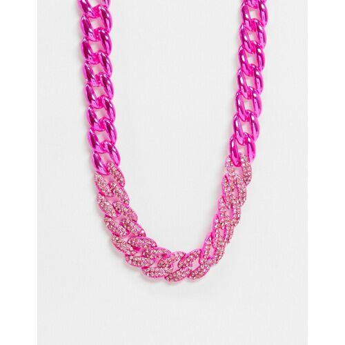 ASOS DESIGN – Gliederkette mit rosafarbenen Kristallen No Size