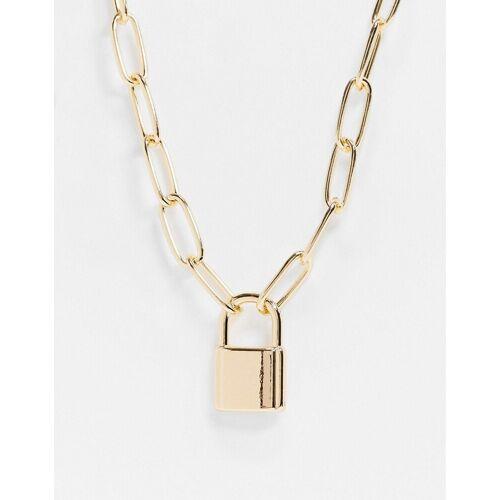 ASOS DESIGN – Goldene Halskette mit groben Gliedern und Vorhängeschloss No Size