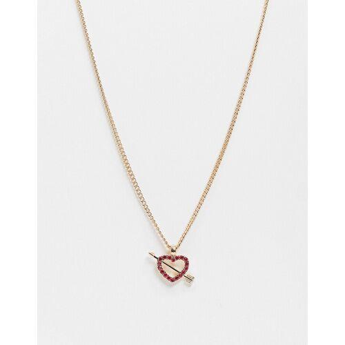 ASOS DESIGN – Goldene Halskette mit Kristallherz-Pfeil-Anhänger No Size