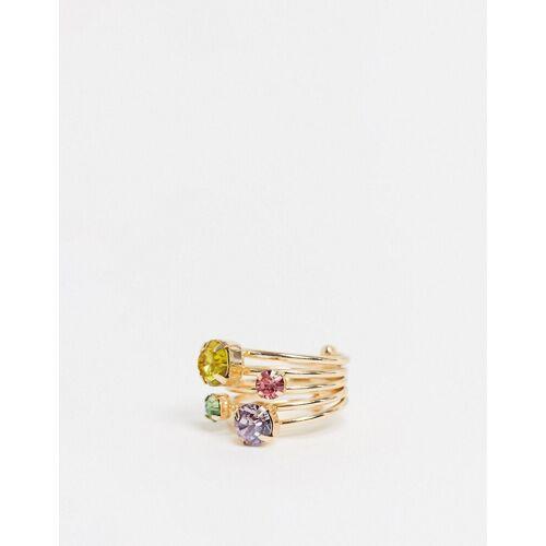 ASOS DESIGN – Goldener Ring mit bunten Kristallen M