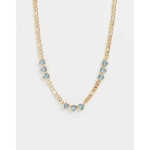 ASOS DESIGN – Goldfarbene Halskette mit Kristallherzen und Figaro-Kette No Size