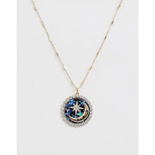 ASOS DESIGN – Goldfarbene Halskette mit Mond- und Stern-Kristallanhänger No Size