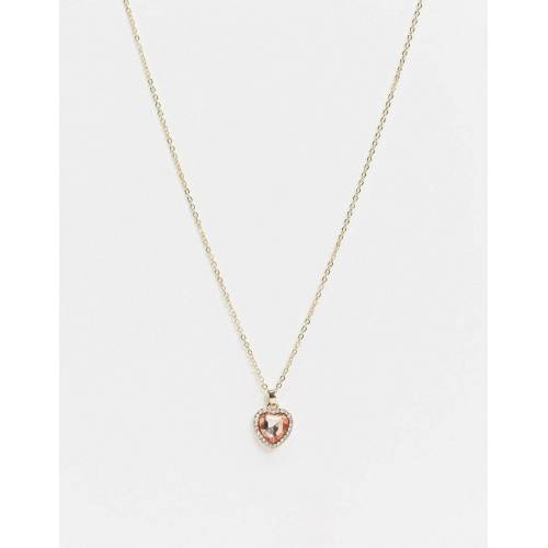 ASOS DESIGN – Goldfarbene Halskette mit rosafarbenem Schmucksteinanhänger in Herzoptik No Size