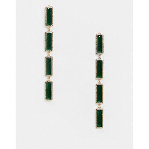 ASOS DESIGN – Goldfarbene Ohrringe mit grünen Kristallanhängern No Size