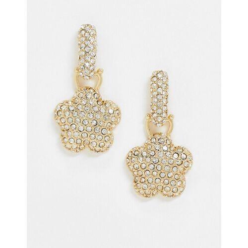 ASOS DESIGN – Goldfarbene Ohrringe mit Kristallanhängern in Blumenform No Size