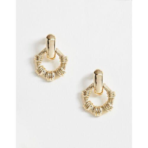 ASOS DESIGN – Goldfarbene Ohrringe mit offenem Bambusring No Size