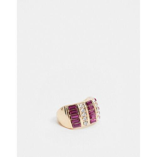 ASOS DESIGN – Goldfarbener Ring mit Kristallstein in leuchtendem Rosa S