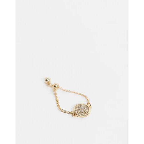 ASOS DESIGN – Goldfarbener, verstellbarer Ring mit Kristallanhänger No Size