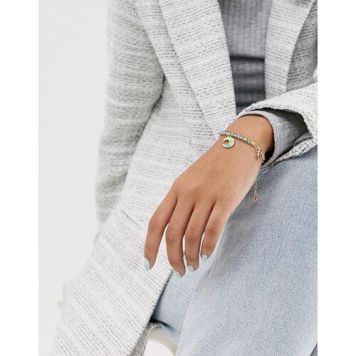 ASOS DESIGN – Goldfarbenes Armband mit Kristallperlen und Mondanhänger No Size
